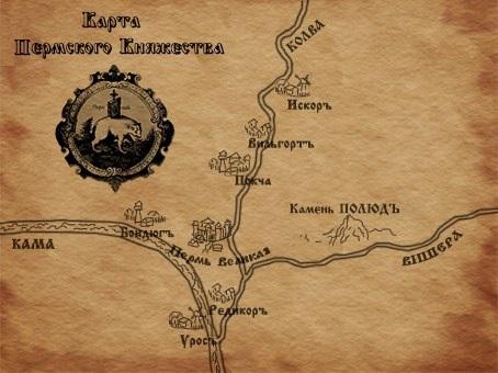 Карта Пермского княжества современная реконструкция