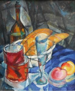 Натюрморт с булками и посудой кубофутуризм