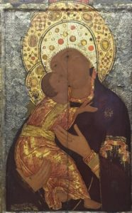 Центральная часть образа иконы Владимирской Божией матери