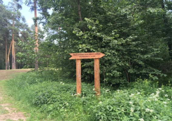 Табличка в Черняевском лесу с указателем